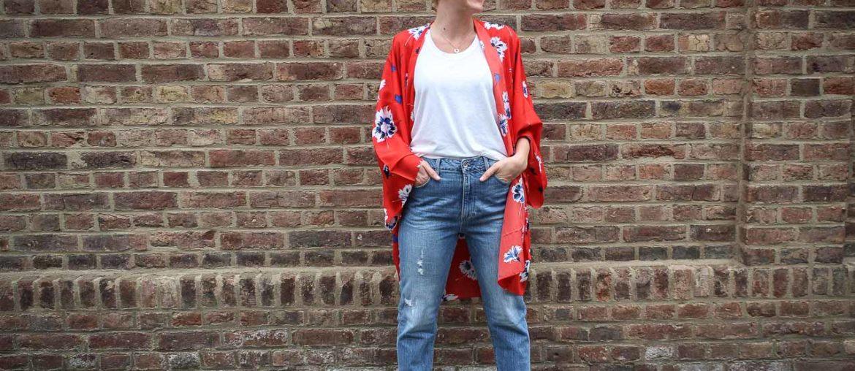 Kimono und Boyfriend Jeans