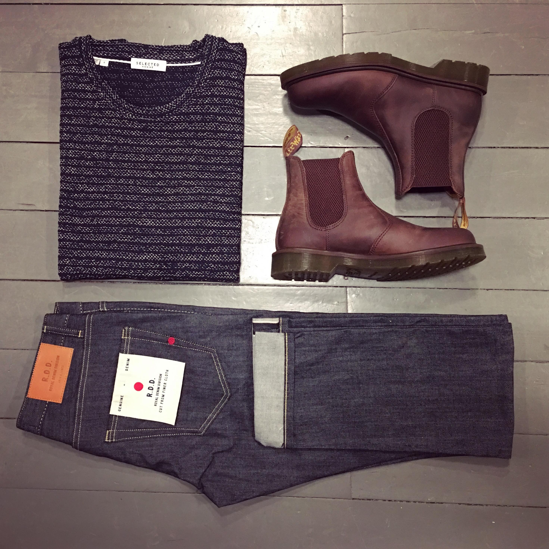 Raw Denim Jeans und Dr Martens